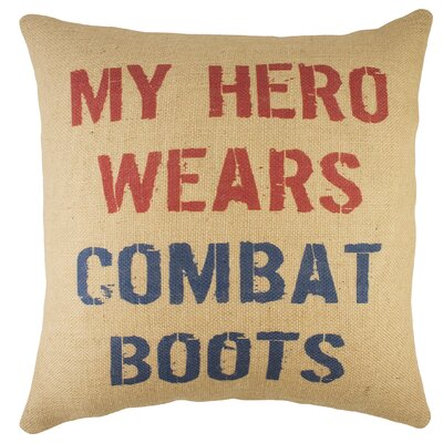 My Hero Wears Combat Boots Burlap Throw Pillow