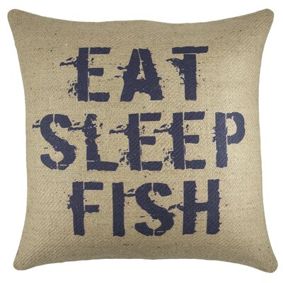 Eat Sleep Fish Burlap Throw Pillow