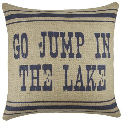 Go Jump in the Lake Burlap Throw Pillow Color: Navy