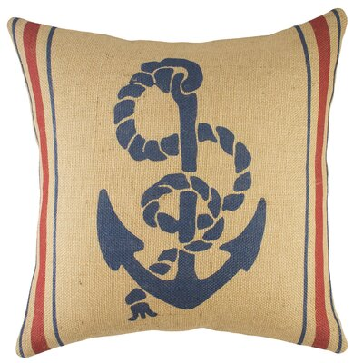 Anchor Burlap Throw Pillow