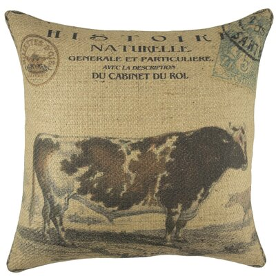 Cow Burlap Throw Pillow