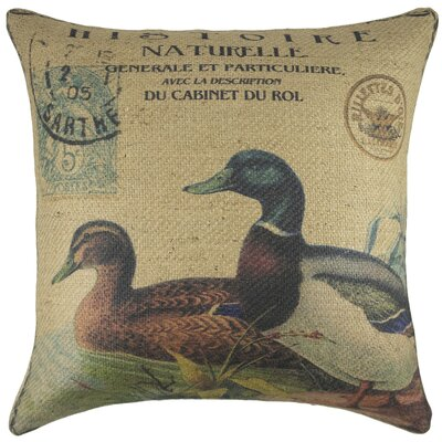Ducks Burlap Throw Pillow