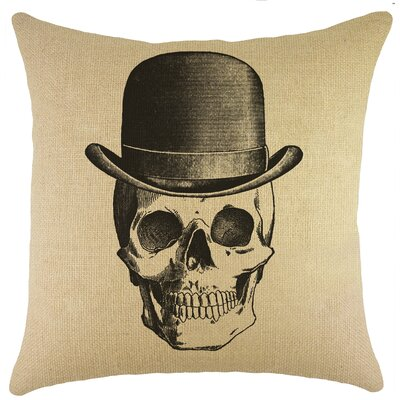 Skull Burlap Throw Pillow