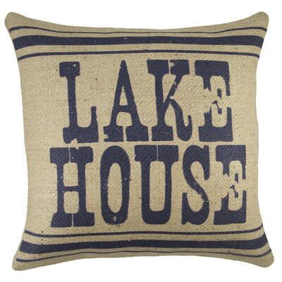 Lake House Burlap Throw Pillow Color: Navy
