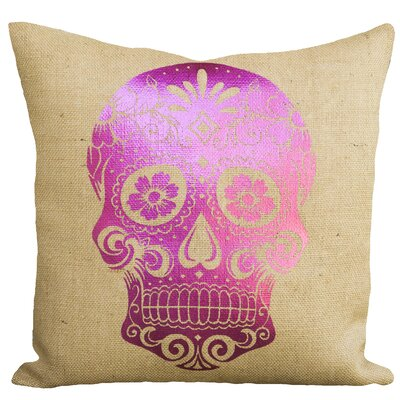 Day of the Dead Sugar Skull Burlap Throw Pillow Color: Pink