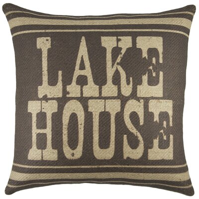 Lake House Burlap Throw Pillow Color: Brown