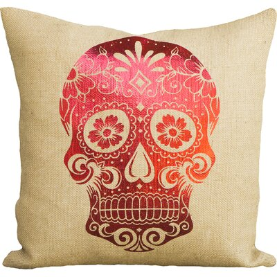Day of the Dead Sugar Skull Burlap Throw Pillow Color: Red