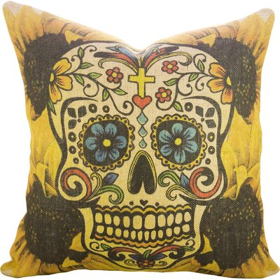 Day of the Dead Sugar Skull Burlap Throw Pillow