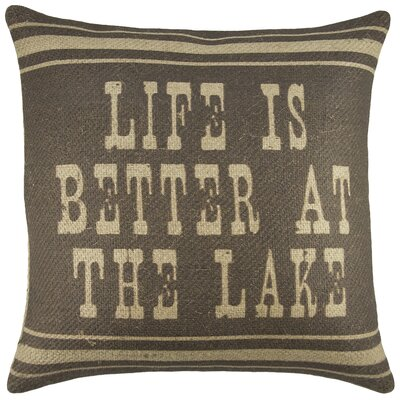 Life is Better at the Lake Burlap Throw Pillow