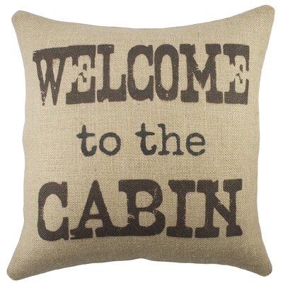 Welcome to the Cabin Burlap Throw Pillow