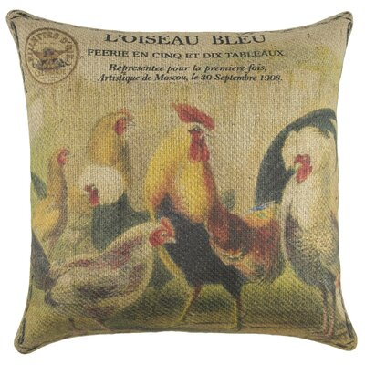 Chicken Coop Burlap Throw Pillow