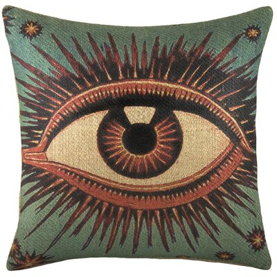 Eye Burlap Throw Pillow Color: Green
