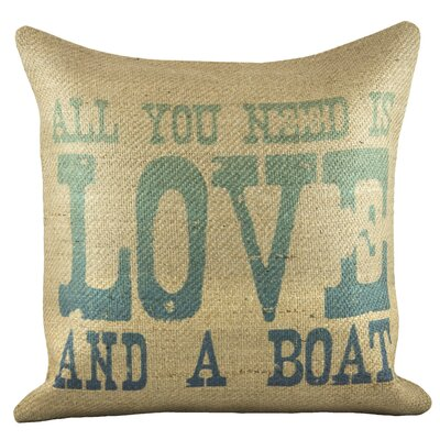Love and a Boat Burlap Pillow