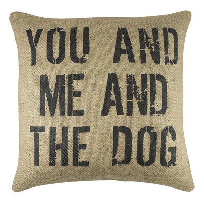 You and Me and the Dog Burlap Throw Pillow Color: Black