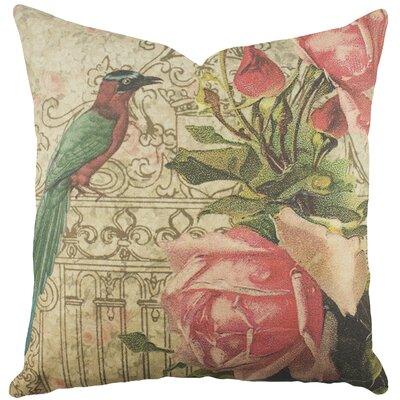 Bird with Roses Cotton Throw Pillow
