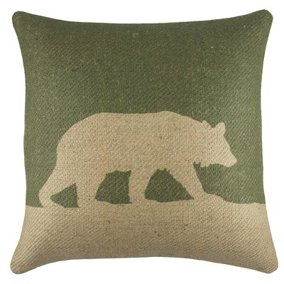 Bear Burlap Throw Pillow Color: Green