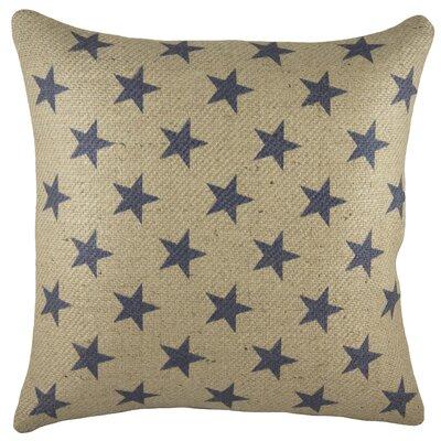 Patriotic Stars Burlap Throw Pillow Color: Blue