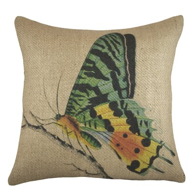 Butterfly Burlap Throw Pillow