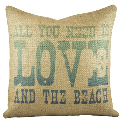 Love and the Beach Burlap Throw Pillow