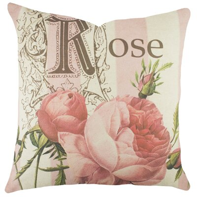 Rose Cotton Throw Pillow