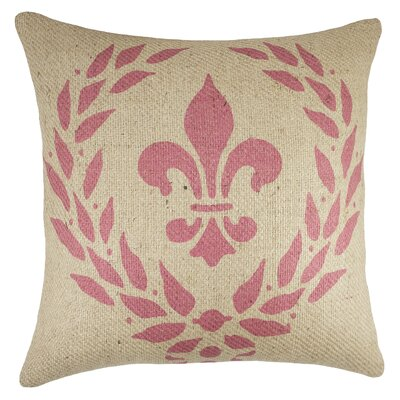 Crest Burlap Throw Pillow Color: Pink / Natural