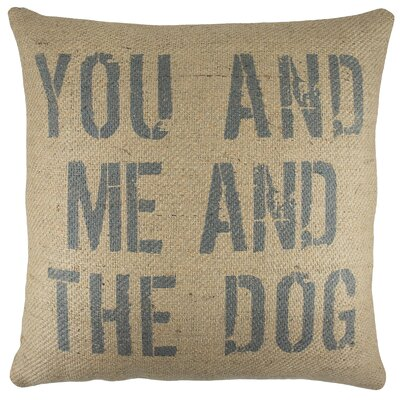 You and Me and the Dog Burlap Throw Pillow Color: Blue