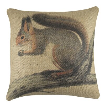 Squirrel Burlap Throw Pillow