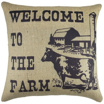 Welcome to the Farm Burlap Throw Pillow