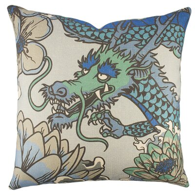 Dragon Cotton Throw Pillow Color: Blue