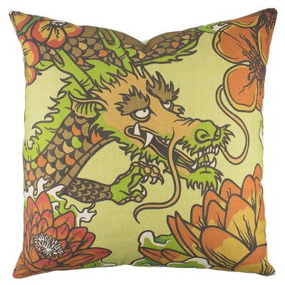 Dragon Cotton Throw Pillow Color: Orange / Green