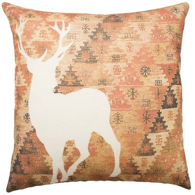 Deer Aztec Cotton Throw Pillow