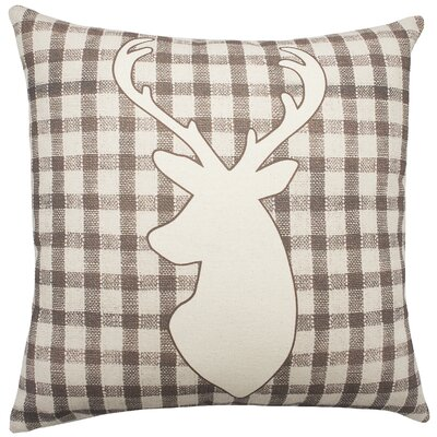 Deer Plaid Cotton Throw Pillow