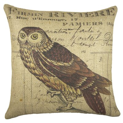 Owl Burlap Throw Pillow
