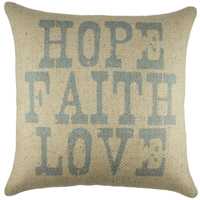 Hope Faith Love Burlap Throw Pillow