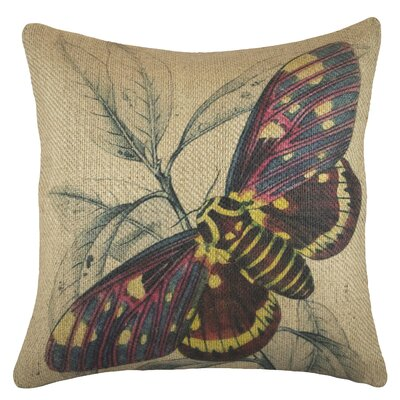 Moth Burlap Throw Pillow