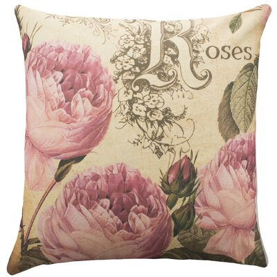 Roses Cotton Throw Pillow