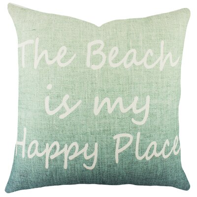 The Beach Is My Happy Place Cotton Throw Pillow