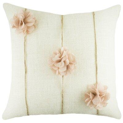 Floral Burlap Throw Pillow Color: White