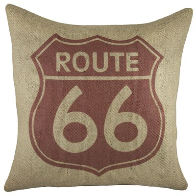 Route 66 Burlap Throw Pillow Color: Red