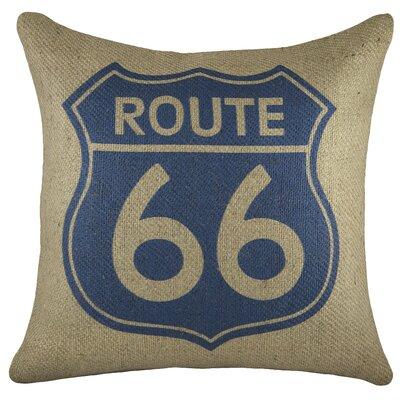 Route 66 Burlap Throw Pillow Color: Blue