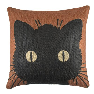 Cat Burlap Throw Pillow