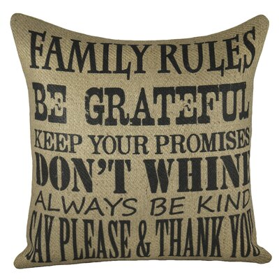 Family Rules Burlap Throw Pillow Color: Black
