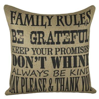 Family Rules Burlap Throw Pillow Color: Black