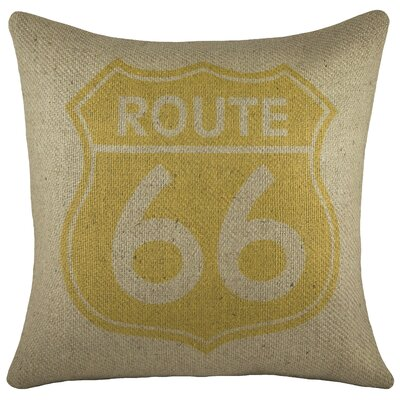 Route 66 Burlap Throw Pillow Color: Yellow