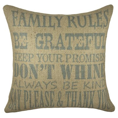 Family Rules Burlap Throw Pillow Color: Blue