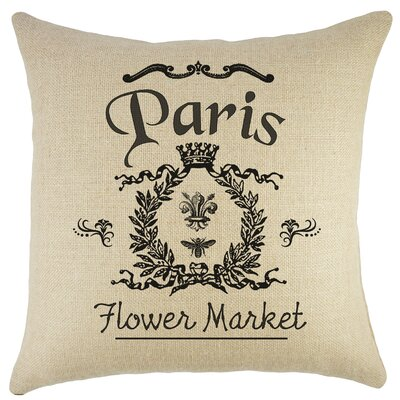 Paris Flower Market Burlap Throw Pillow