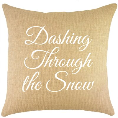 Dashing Through the Snow Burlap Throw Pillow