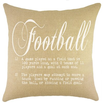 Football Burlap Throw Pillow
