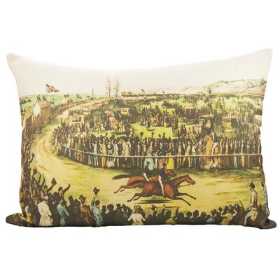 Horse Race Cotton Lumbar Pillow