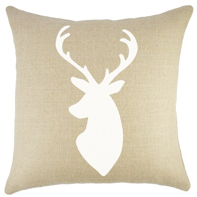 Deer Burlap Throw Pillow Color: Natural